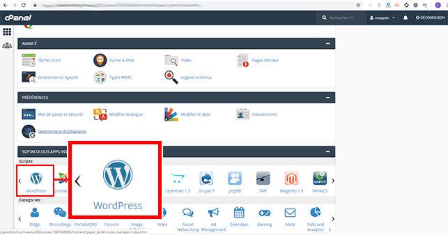 installer wordpress sur cpanel