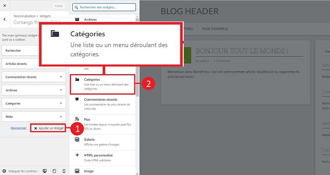 Ajouter Widgets WordPress