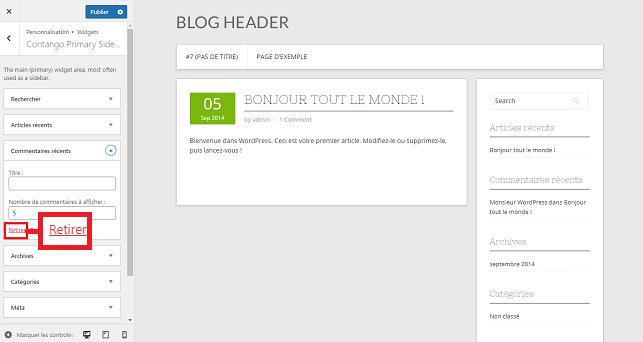 Supprimer Widgets WordPress